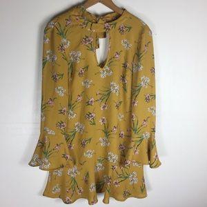 Xhilaration Mustand XS Keyhole Ruffle Chic Dress